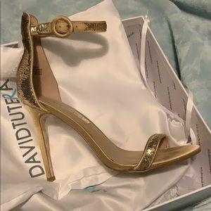 Gold sequin dress shoes
